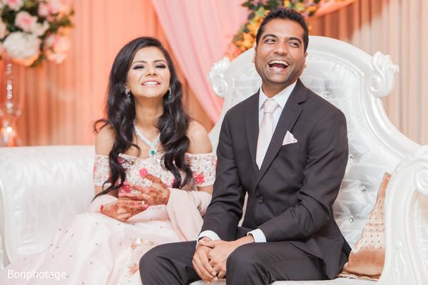 Indian newlyweds enjoying their reception