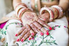 Elegant Indian bride's mehndi decoration.