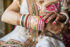 Impressive indian bride's bangles.