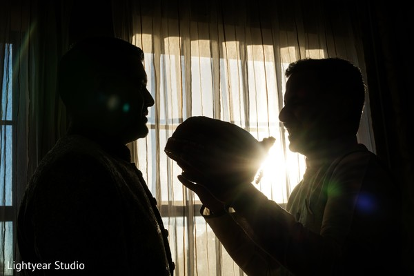 Indian groom getting ready silhouette