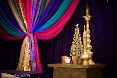 Indian pre-wedding  sangeet golden decoration.