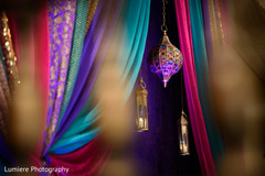 Indian colorful sangeet mandap decoration.