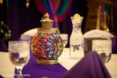 Colorful sangeet table center piece decoration.