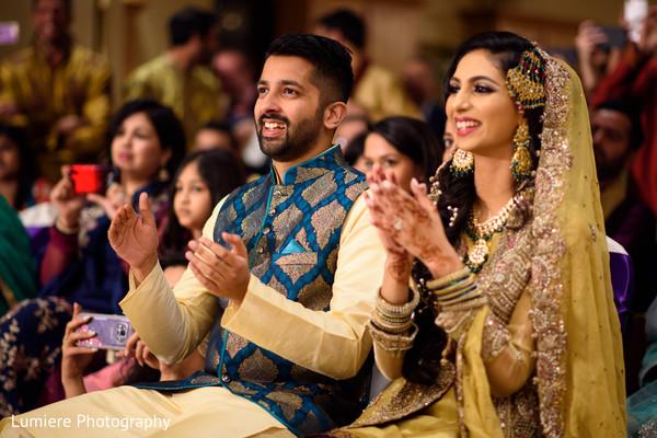 indian bride and groom,indian wedding sangeet,indian wedding fashion