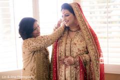 Cute indian bride getting ready
