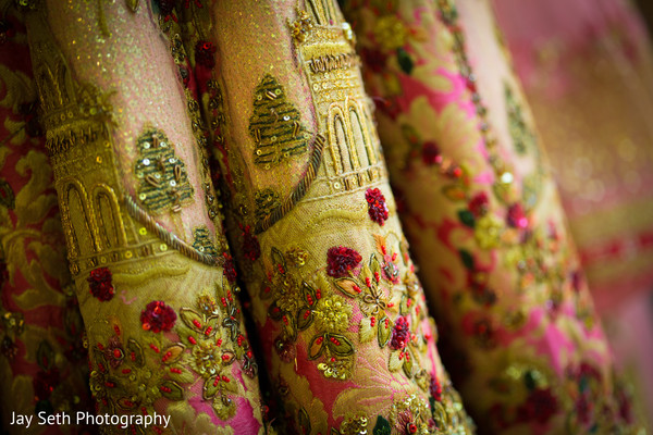 Amazing embroidery decoration on wedding lehnga.