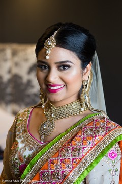 Elegant Indian bride ready for ceremony.
