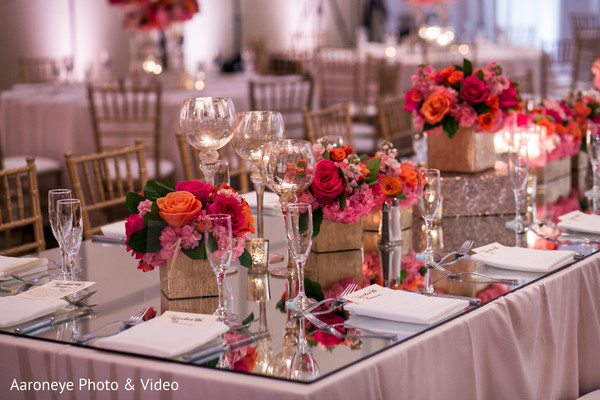 Gorgeous indian wedding reception table decor