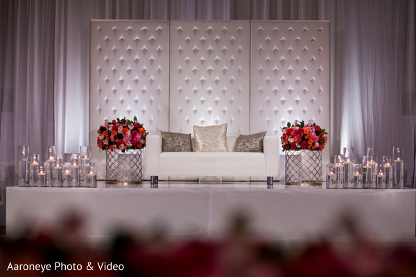 Lovely all white indian wedding stage
