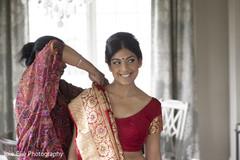 Beautiful indian bride getting ready scene