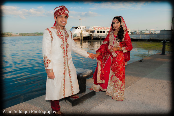 Indian bride and groom at their outdoor photo shoot