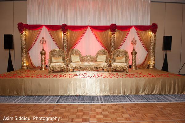 Golden indian wedding stage
