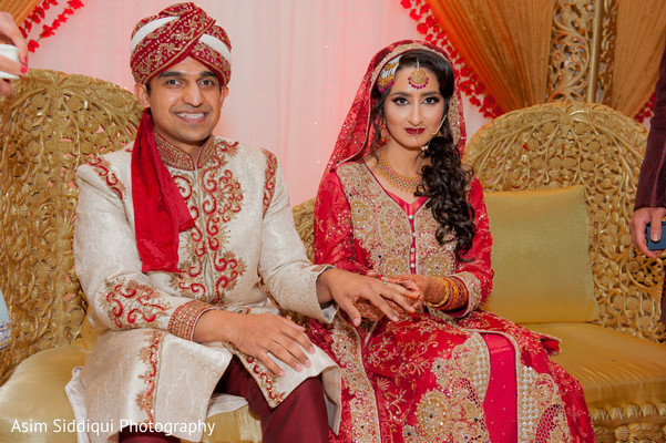 Indian groom and bride at their wedding