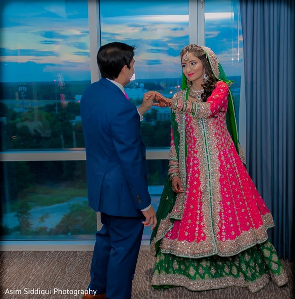 Ravishing indian bride's wedding reception outfit