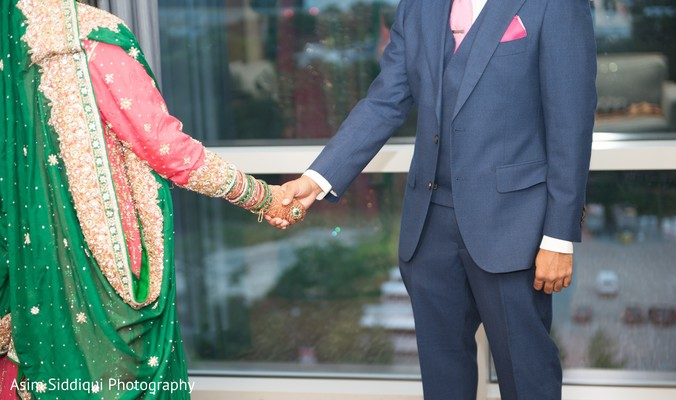 Elegant indian bride and groom's wedding reception style