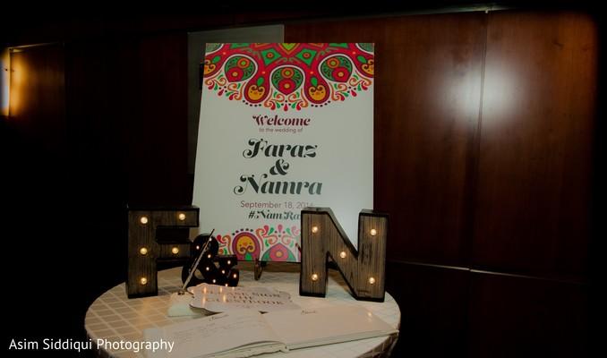 Personalized indian wedding reception decor
