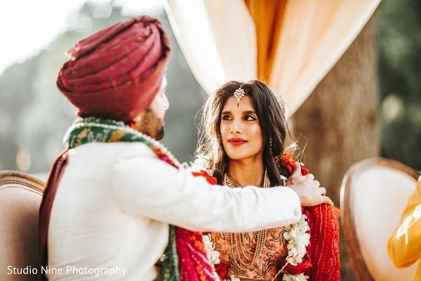 Indian lovebirds wedding ritual.