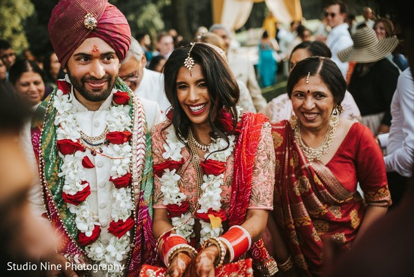 Indian bride and groom in traditional wedding ceremony.