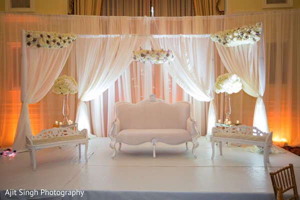 Dreamy Draped mandap and flower decoration.