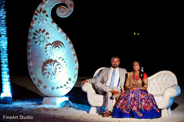 Vibrant portrait of indian couple in Cancun, Mexico Destination Sikh Wedding by FineArt Studio