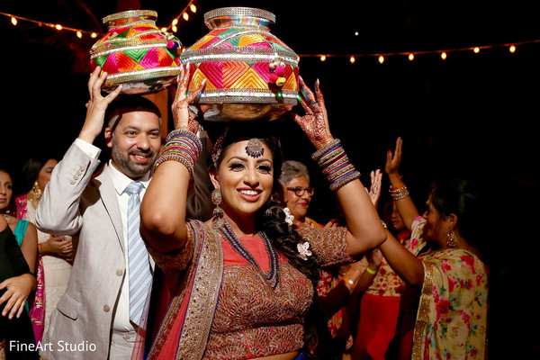 Indian bride and groom's sangeet photo shoot