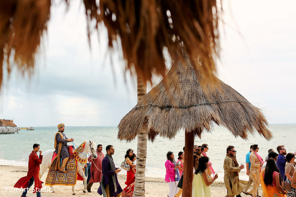 Lovely beachside baraat procession