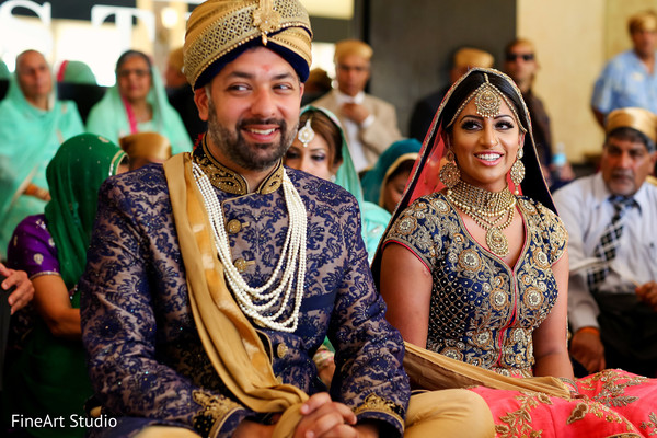 Joyful indian bride and groom