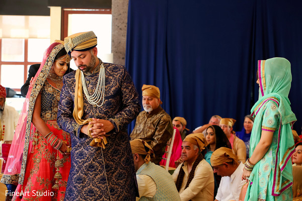 Sweet indian couple at their wedding ceremony in Cancun, Mexico Destination Sikh Wedding by FineArt Studio