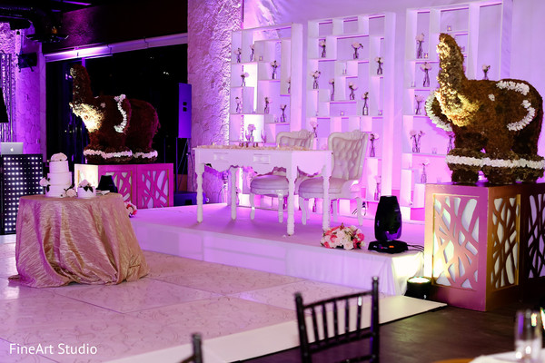 Marvelous indian wedding reception stage in Cancun, Mexico Destination Sikh Wedding by FineArt Studio