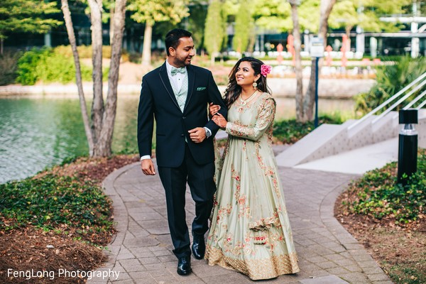 Ravishing indian couple's wedding reception attire