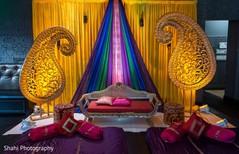 Colorful Indian wedding mandap decorations.