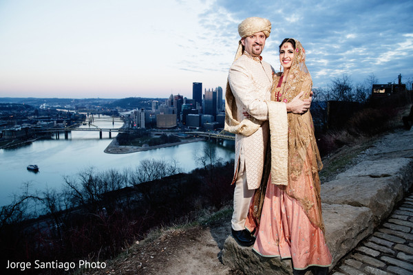 Stunning indian bride and groom outdoor photo shoot