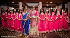 Sweet capture of indian bride with bridesmaids