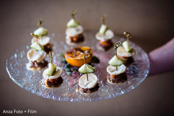 Detailed Indian wedding appetizers capture.