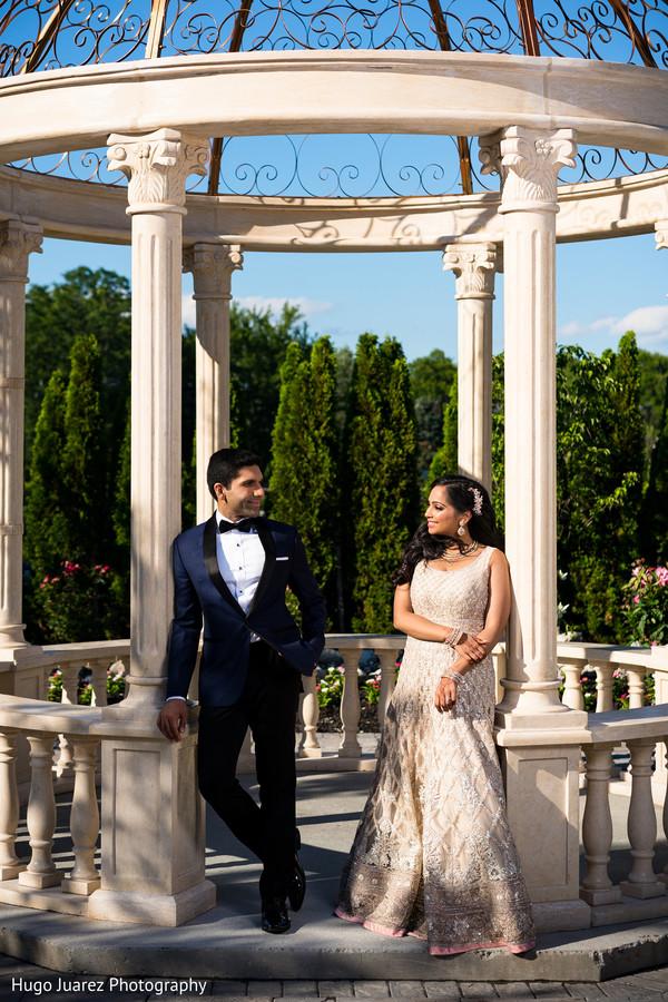 Elegant Indian bride and groom\'s wedding reception fashion. in ...