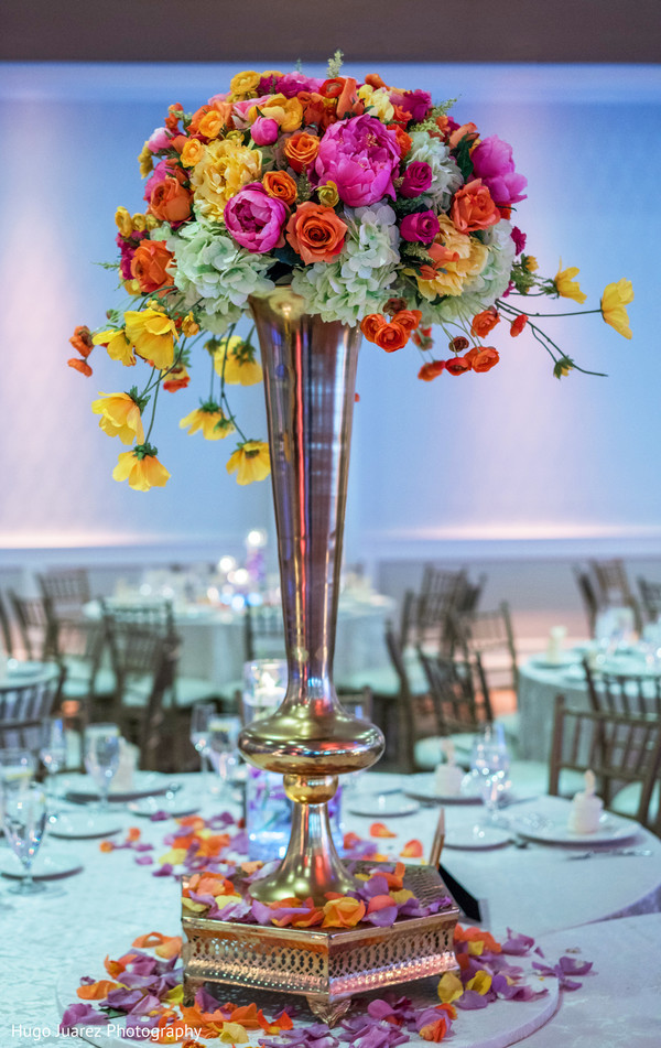Graceful Indian Wedding Floral Table Centerpiece Decoration Photo