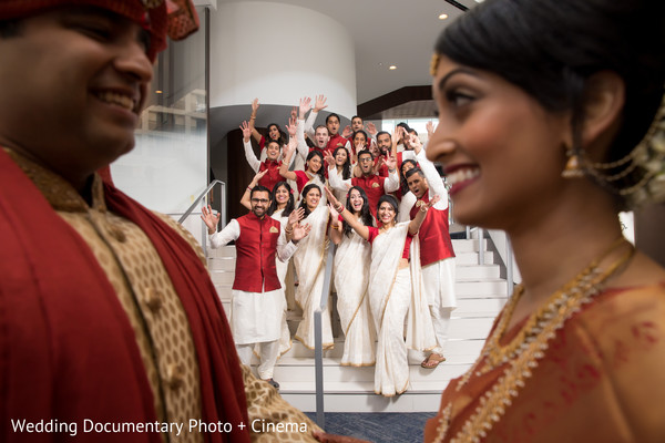 Marvelous Indian lovebirds portrait with bridesmaids and groomsmen.