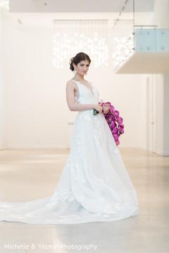 Stunning indian bride in white wedding dress