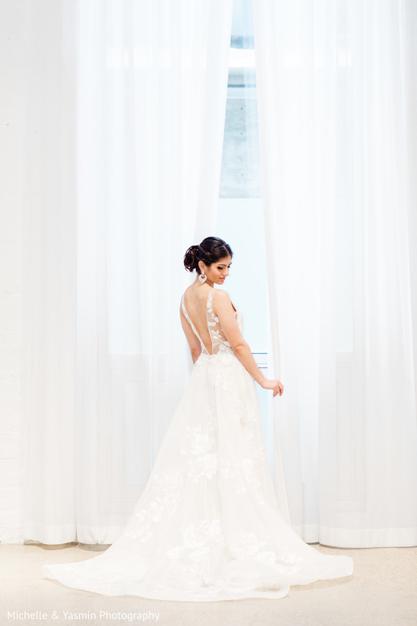 Beautiful open back white wedding dress