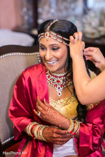 Lovely indian couple getting ready