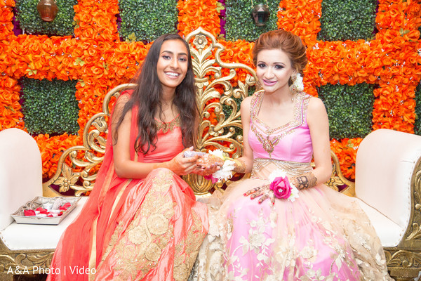 Indian bride enjoying pre-wedding ritual