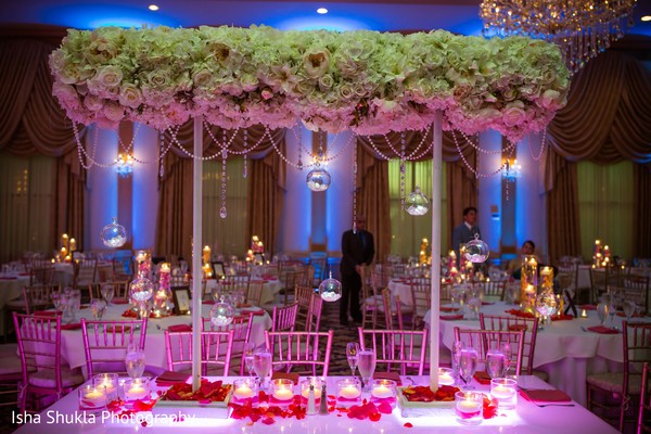 Delightful Indian couple's reception table decor.