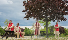 Indian groom with groomsmen outdoor photo session