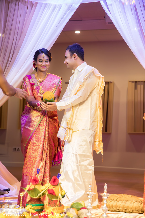 Indian bride and groom at their wedding ceremony