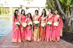 Outdoor themed indian bride with bridesmaids photo