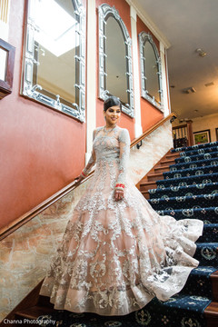 Lovely Indian bride on her wedding reception dress.