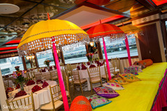 Colorful Indian wedding sangeet decoration.