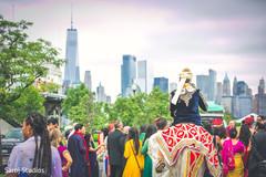 Baraat ritual during Indian pre-wedding celelbration.