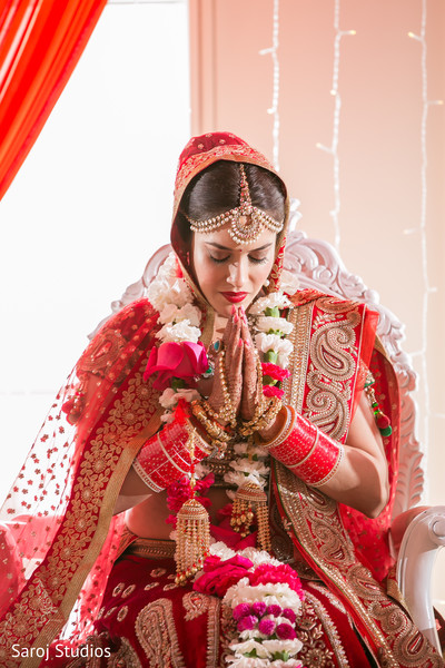 Glamorous Indian bride at the wedding ceremony.