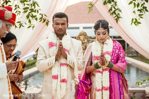 Memorable Indian wedding ceremony portrait.